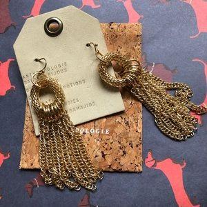 NWT Anthropologie gold tassels earrings